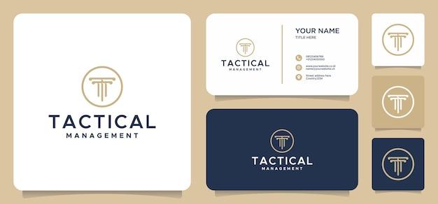 Design de logotipo da letra t com cartão de visita