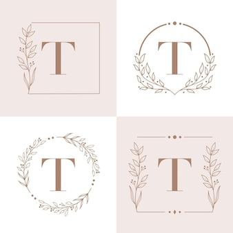 Design de logotipo da letra t com elemento de folha de orquídea Vetor Premium