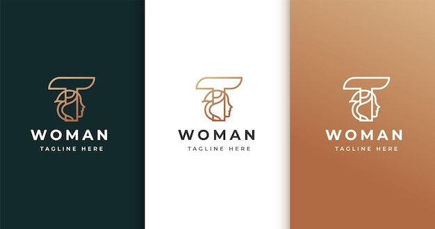 Design de logotipo da letra t com rosto de mulher