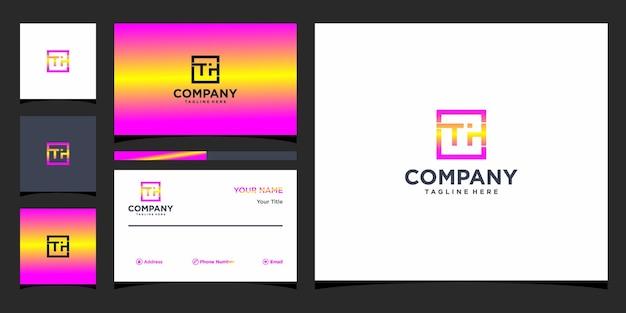 Design de logotipo da letra th e cartão de visita premium vector