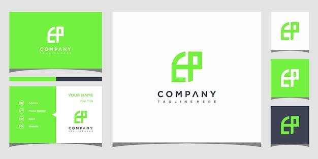Design de logotipo da letra tp e cartão de visita premium vector