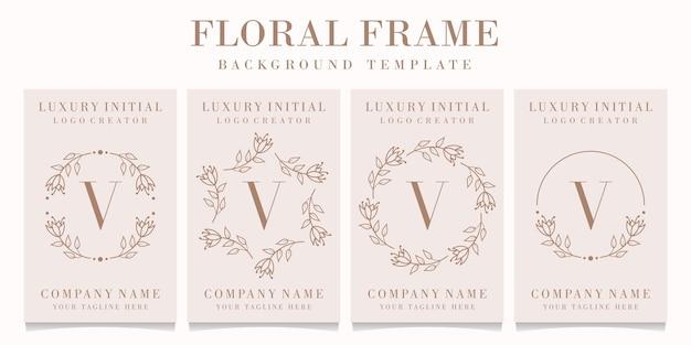 Design de logotipo da letra v com modelo de moldura floral