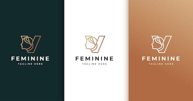 Design de logotipo da letra v com rosto de mulher