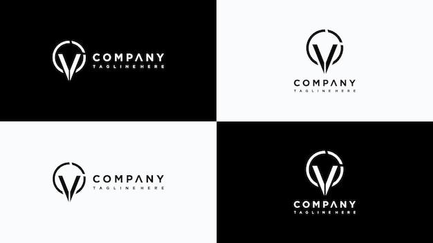 Design de logotipo da letra v vetor premium