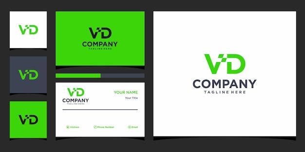 Design de logotipo da letra vd e cartão de visita premium vector