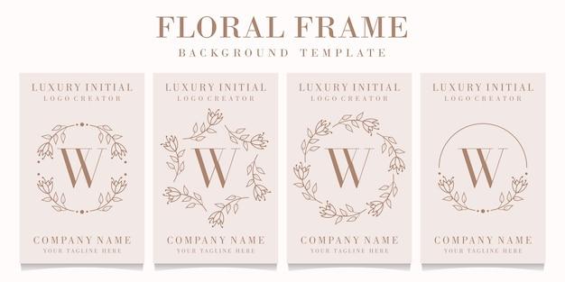 Design de logotipo da letra w com modelo de moldura floral