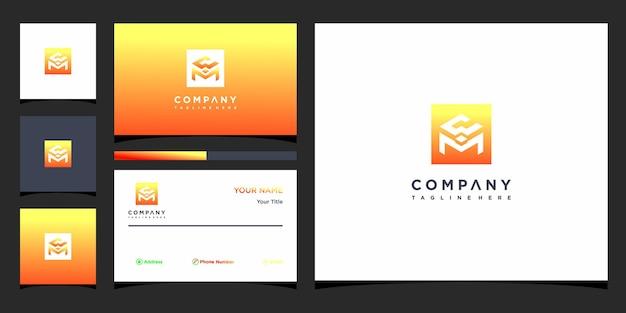 Design de logotipo da letra wm e cartão de visita premium vector