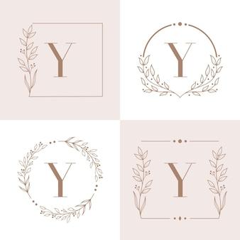 Design de logotipo da letra y com elemento de folha de orquídea