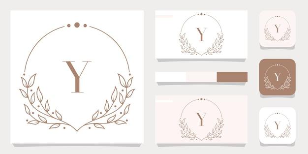 Design de logotipo da letra y de luxo com modelo de moldura floral, design de cartão de visita