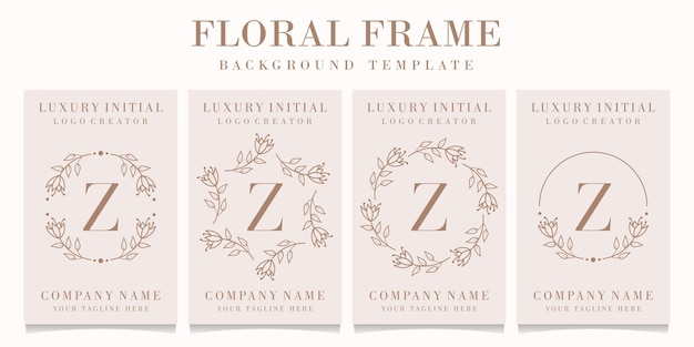 Design de logotipo da letra z com modelo de moldura floral