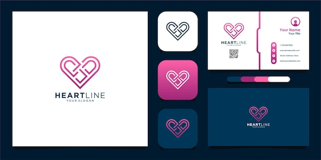 Design de logotipo da linha de coração e cartões de visita premium vector