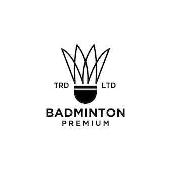 Design de logotipo da linha premium badminton shuttlecock