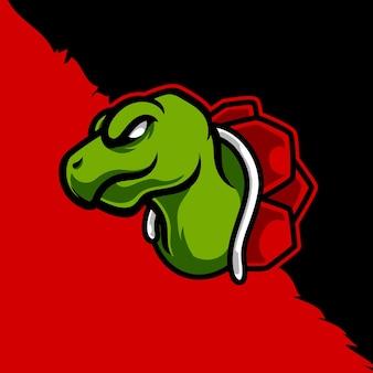 Design de logotipo da mascote da cabeça de tartaruga