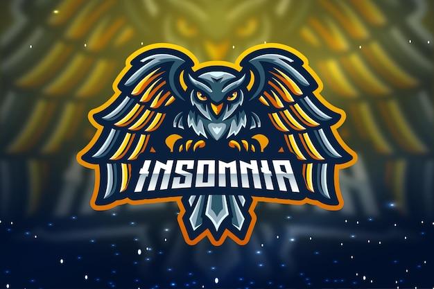 Design de logotipo da mascote da insomnia esport
