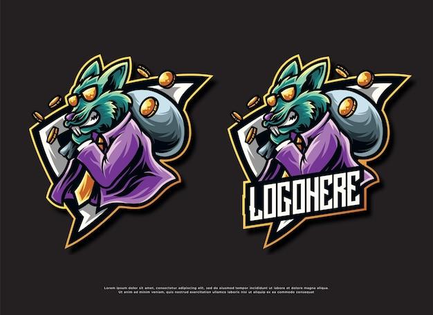Design de logotipo da mascote do mouse de moeda