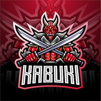 Design de logotipo da mascote esport kabuki