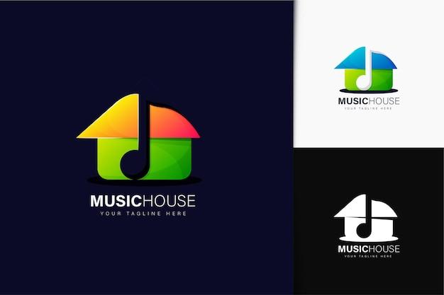 Design de logotipo da music house com gradiente