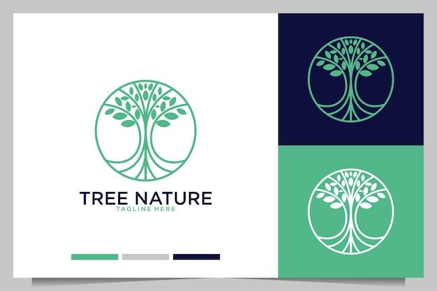 Design de logotipo da natureza da árvore verde