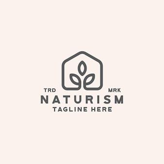 Design de logotipo da natureza da folha em casa