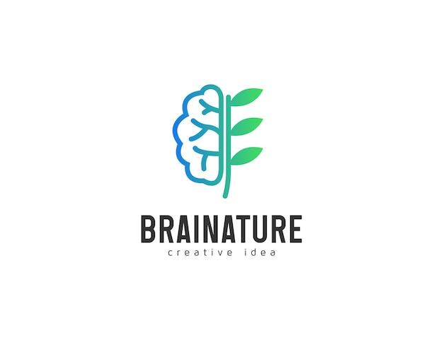 Design de logotipo da natureza do cérebro com ilustração de folhas