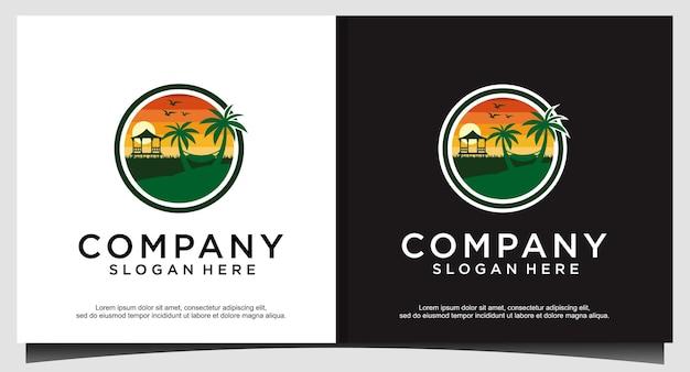 Design de logotipo da praia de férias