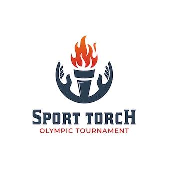 Design de logotipo da tocha da cerimônia de abertura ou sucesso de celebração olímpica com símbolo de elementos de mão