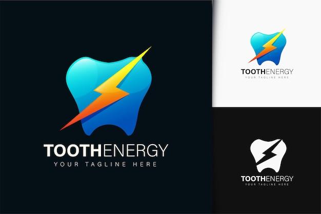Design de logotipo da tooth energy com gradiente