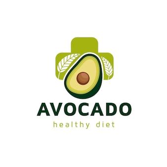 Design de logotipo de abacate comida saudável