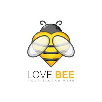Design de logotipo de abelha de amor