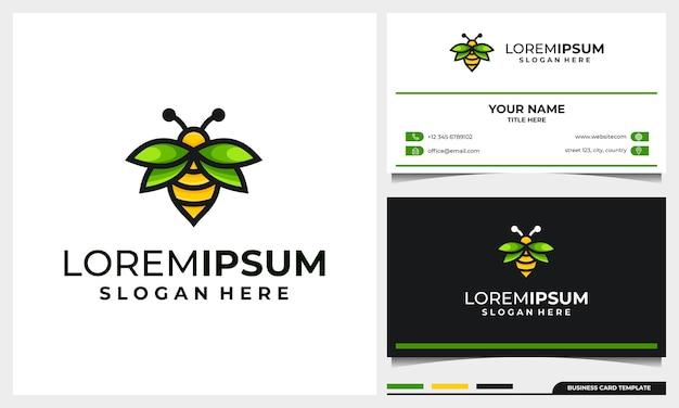 Design de logotipo de abelha de mel com conceito de folha de asa e modelo de cartão de visita