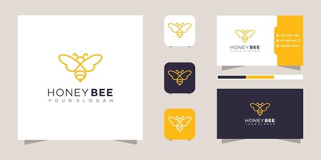 Design de logotipo de abelha de mel e cartão de visita.