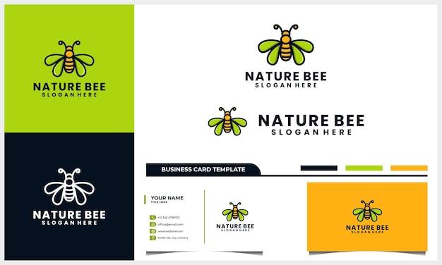 Design de logotipo de abelha mel com conceito de folha de asa e modelo de cartão de visita