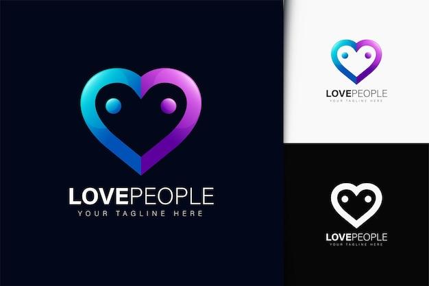 Design de logotipo de adoro pessoas com gradiente