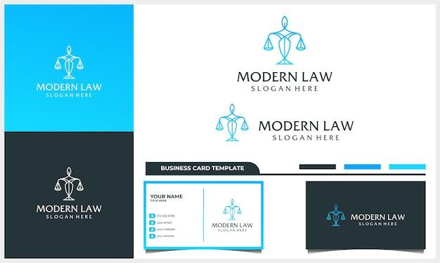 Design de logotipo de advogado com conceito de arte de linha e modelo de cartão de visita