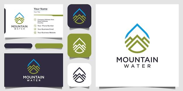 Design de logotipo de água combinado com estilo de arte de linha de montanha e design de cartão de visita