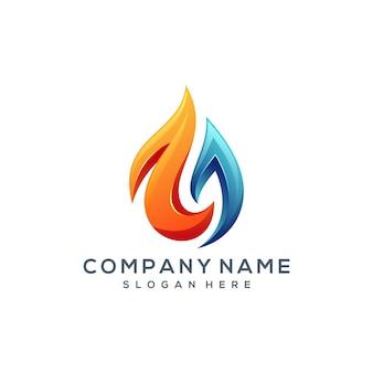 Design de logotipo de água de fogo