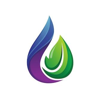 Design de logotipo de água e folha