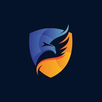 Design de logotipo de águia e escudo