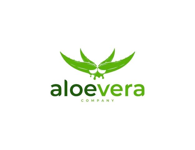 Design de logotipo de aloe vera verde fresco