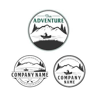 Design de logotipo de aluguer de aventura e férias, logotipo ao ar livre