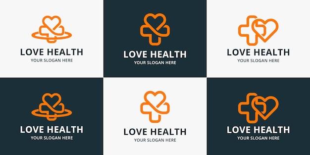 Design de logotipo de amor cruzado, logotipo de inspiração para saúde, hospital, saúde pessoal ou bem-estar