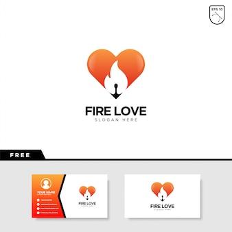 Design de logotipo de amor de fogo