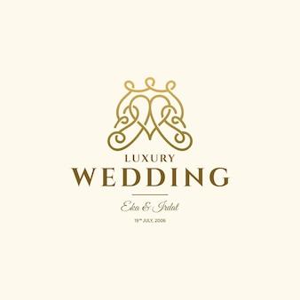 Design de logotipo de amor de luxo casamento ouro