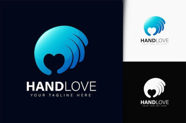 Design de logotipo de amor de mão com gradiente