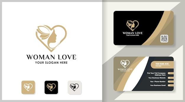 Design de logotipo de amor de rosto de mulher, design de inspiração para salão de beleza, tratamento de beleza e terapia