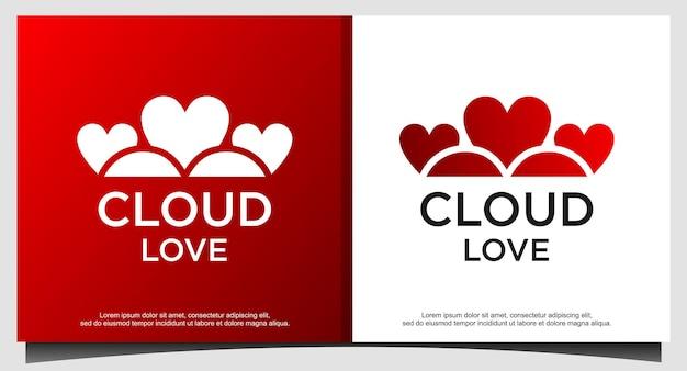 Design de logotipo de amor na nuvem