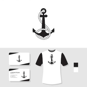 Design de logotipo de âncora com cartão de visita e camiseta maquete