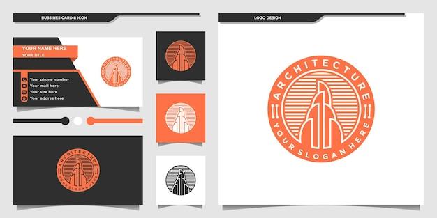 Design de logotipo de arquitetura de edifício criativo com estilo de emblema moderno e cartão de visita premium vecto