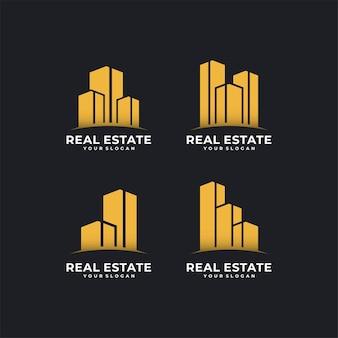 Design de logotipo de arquitetura em estilo de linha de arte