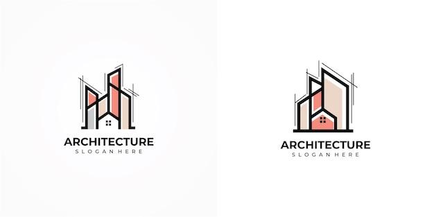 Design de logotipo de arquitetura moderna e elegante logotipo de edifícios. logotipo da imobiliária. logotipo do apartamento. conceito de design de logotipo de arquitetura, resort e creative house